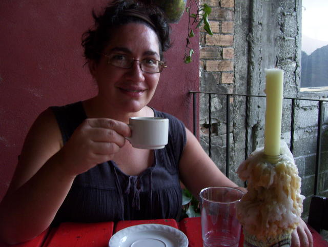 Enjoying coffee in Xilitla