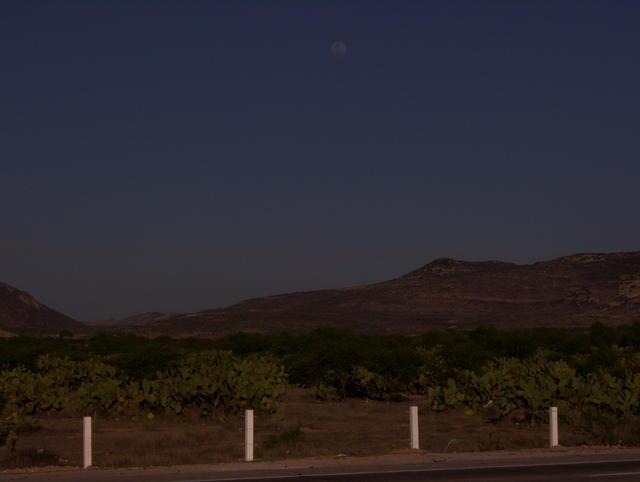 The moon rising over Guanajuato's Sierra Gorda