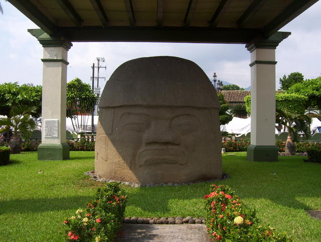 Giant Olmec head in San Andrés Tuxtla