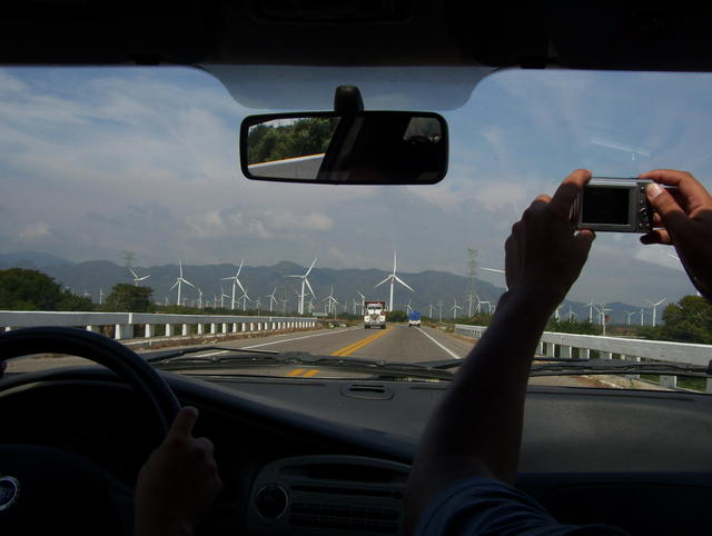 Approaching Jiutepec, an impressive number of windpower electric generators!