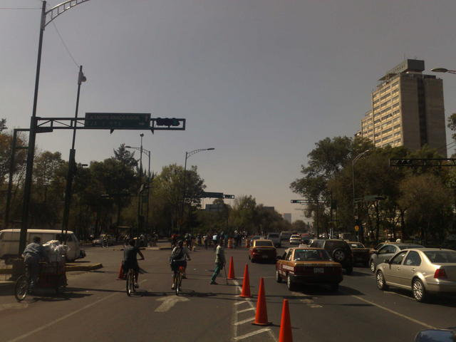 Cycling by the iconic Tlatelolco buildings