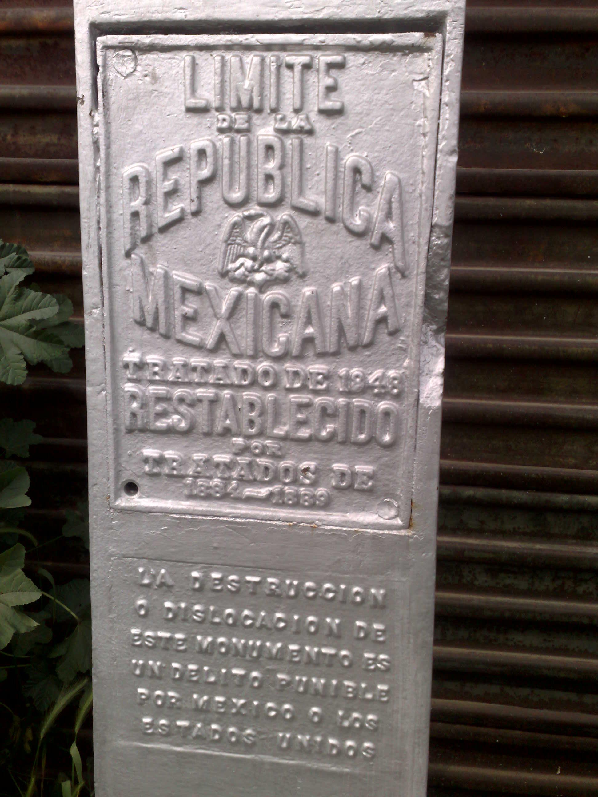 Mexico-US border stone