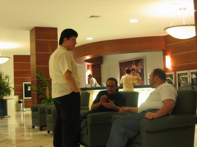 Waiting at the hotel lobby