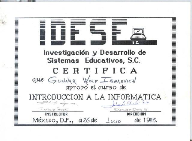 1985 certificate