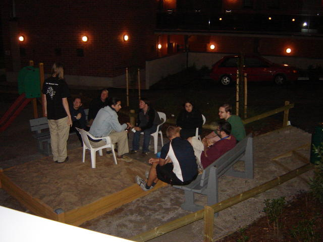 Early comers chatting at night
