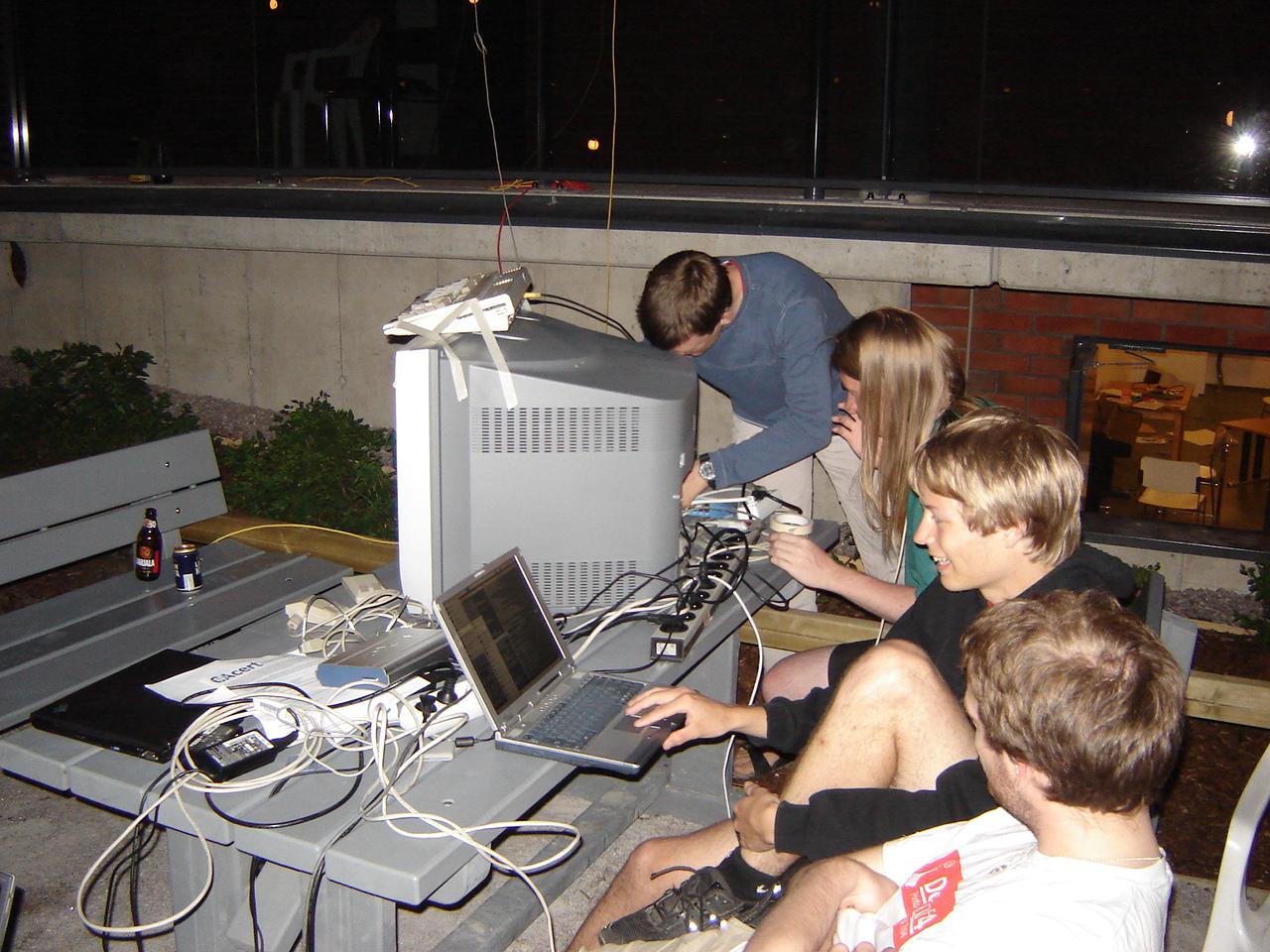 Setting up the Tournament Lemmings Amiga outside