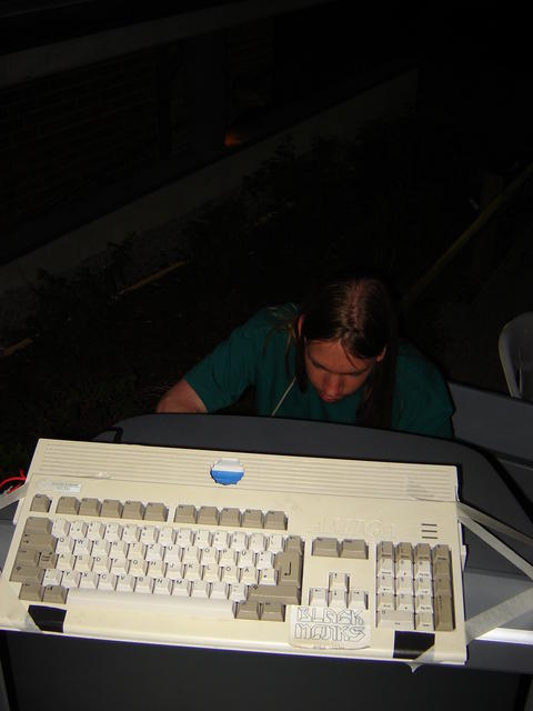 "Simon hacking up a analog-to-SCART ""convertor"""