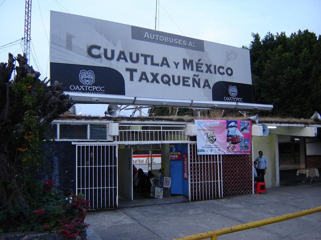 The Oaxtepec bus station, just in front of the main entrance