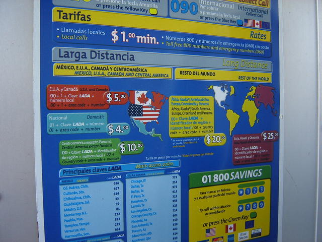 Public payphone rates