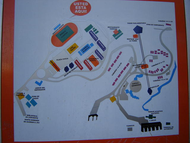Oaxtepec map in the inner bus stop