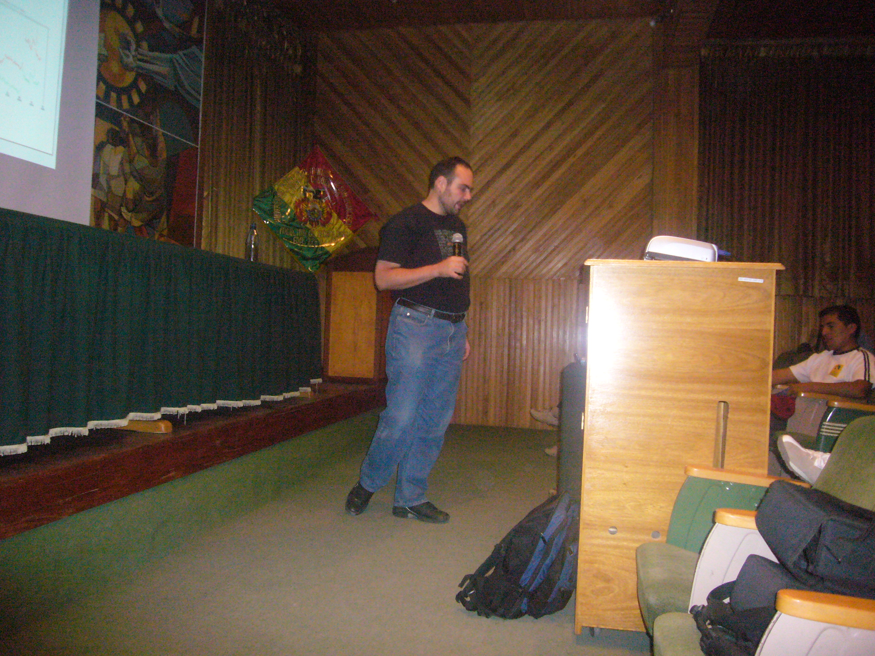 Giving my talk in Sucre