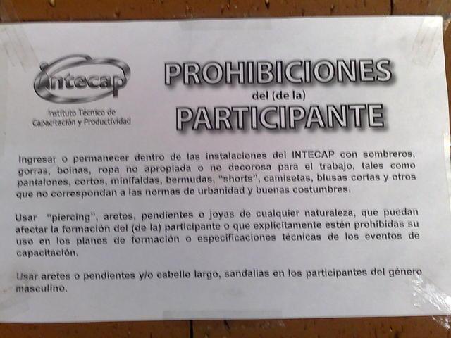 Fascistoid rules for entering INTECAP (Guatemala)
