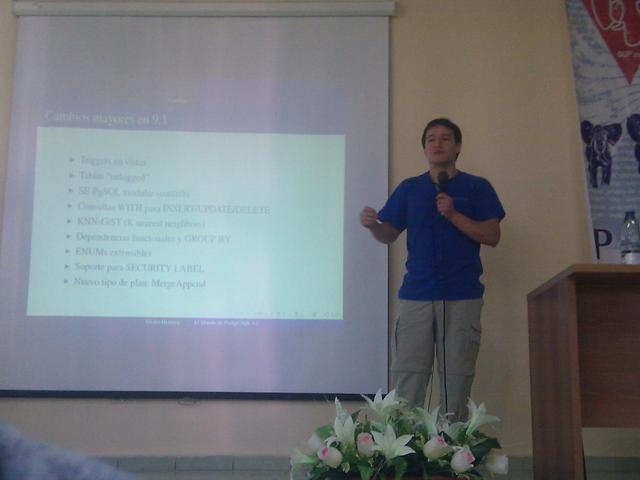 Álvaro Herrera presenting PostgreSQL 9.1 new features