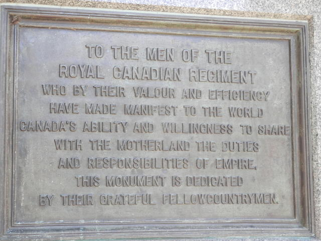 Memorial plaque for the Canadian soldiers in world war 1 and 2