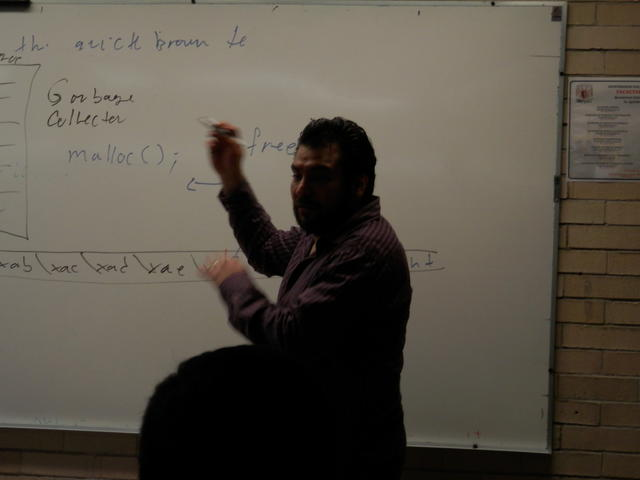 Sandino talking about security in memory management at my class