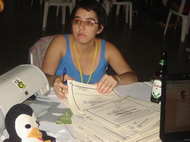 Caro signing the certificates
