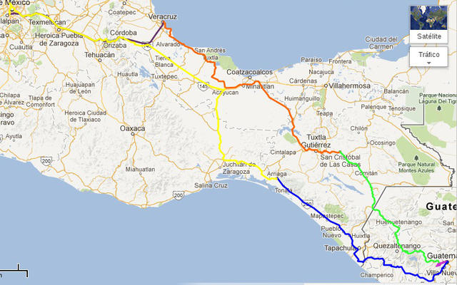 Map of our overall driving for six days