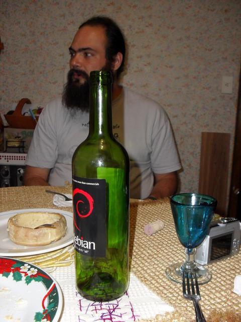 Debian wine and Torta del Casar de Cáceres