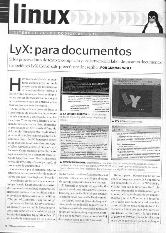 LyX: Para documentos | Gunnar Wolf