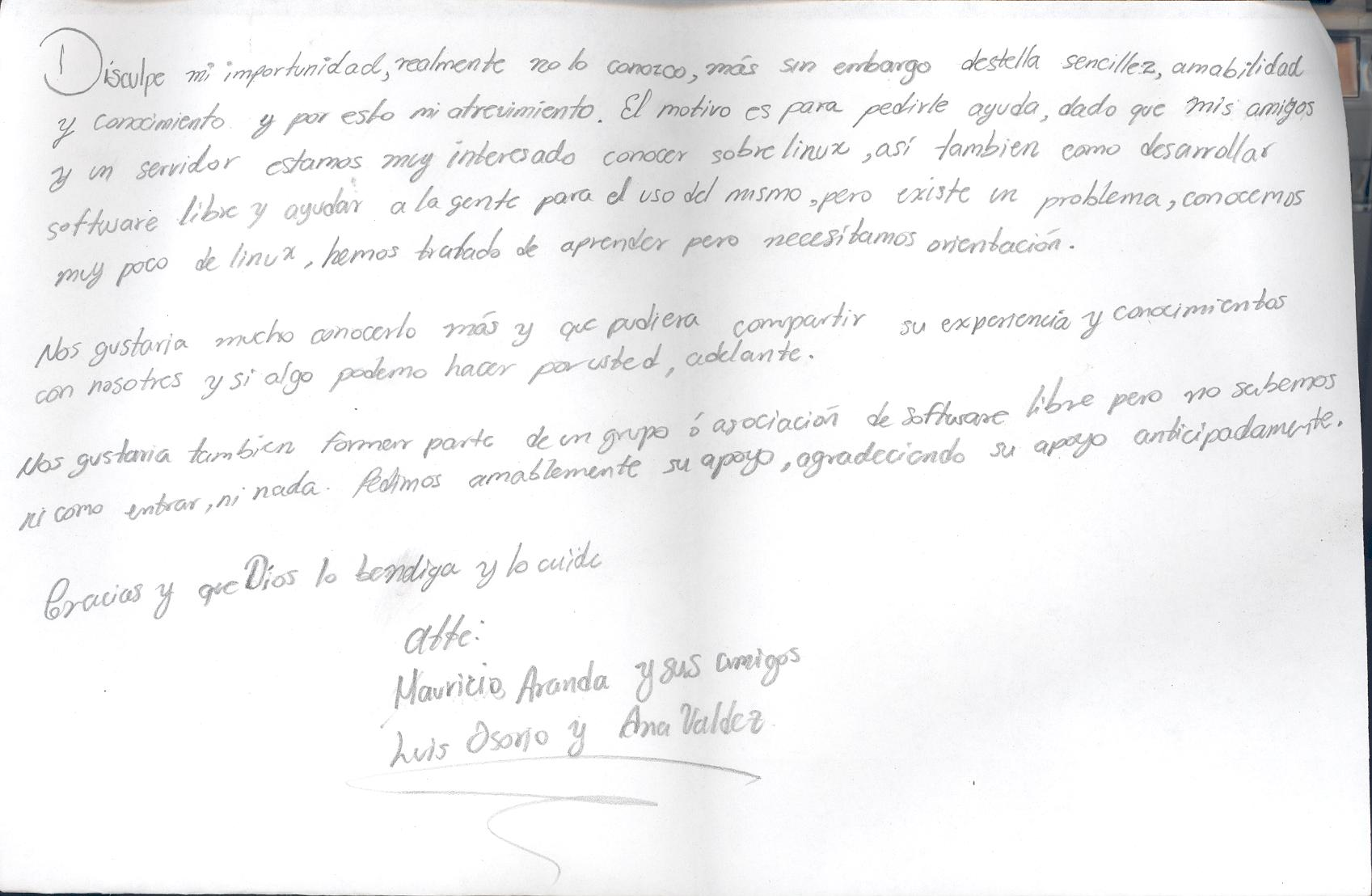 Poza Rica 31/05/05: Letter from a group of students