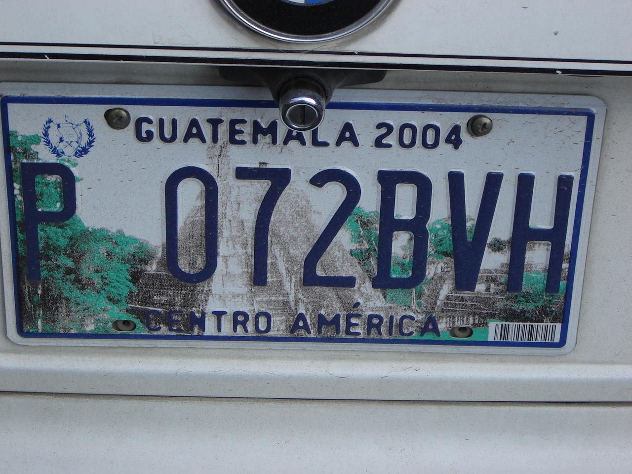 Guatemalan license plate
