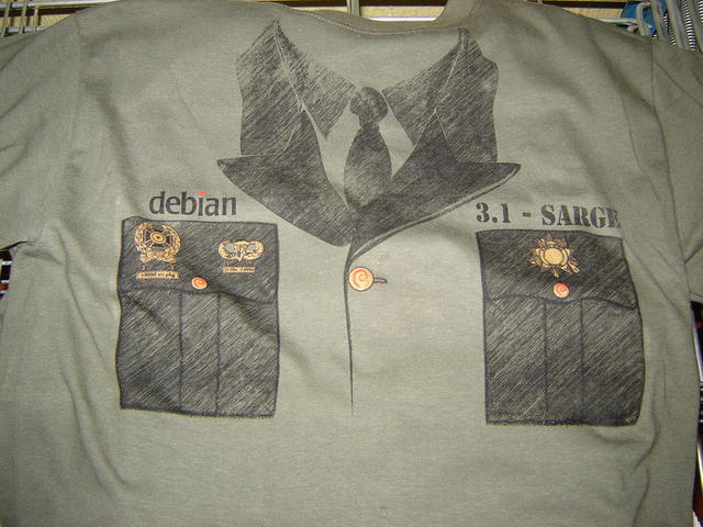 Debian Sarge, on military green
