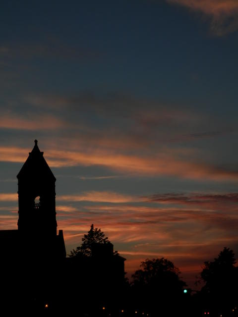 Magnificent sunset and the town hall